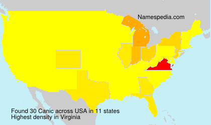 Surname Canic in USA