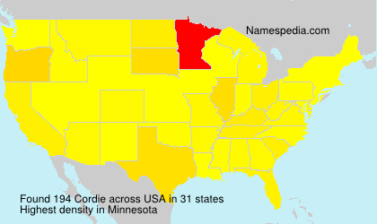 Surname Cordie in USA