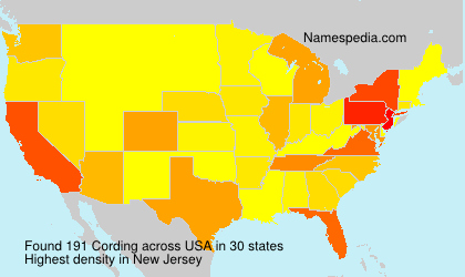 Surname Cording in USA