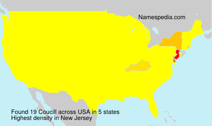 Surname Coucill in USA