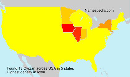Surname Cyrzan in USA