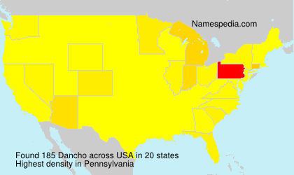 Surname Dancho in USA