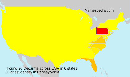 Surname Decarme in USA