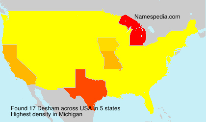 Surname Desham in USA