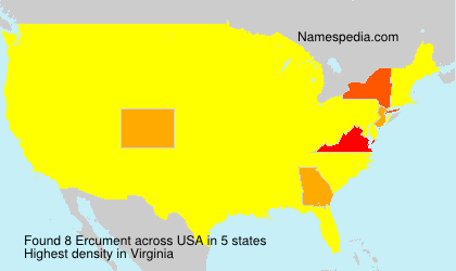 Surname Ercument in USA