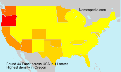 Surname Faast in USA
