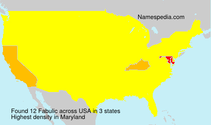 Surname Fabulic in USA