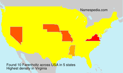 Surname Farenholtz in USA