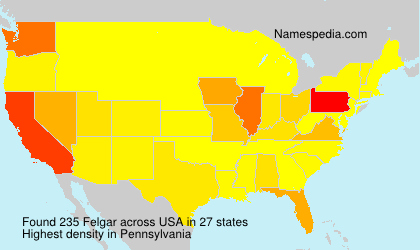 Surname Felgar in USA