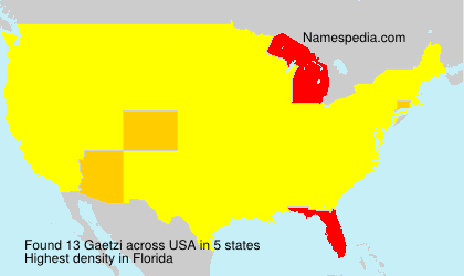 Surname Gaetzi in USA