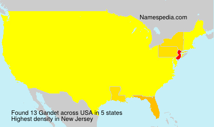 Surname Gandet in USA
