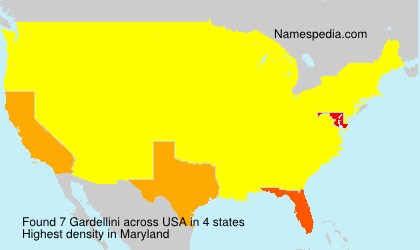 Surname Gardellini in USA