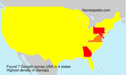 Surname Gargalli in USA