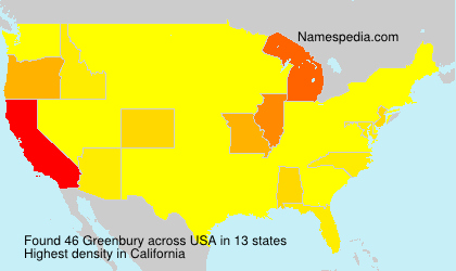 Surname Greenbury in USA