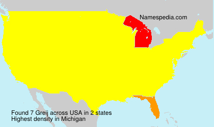 Surname Greij in USA