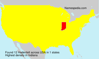Surname Hadenfelt in USA