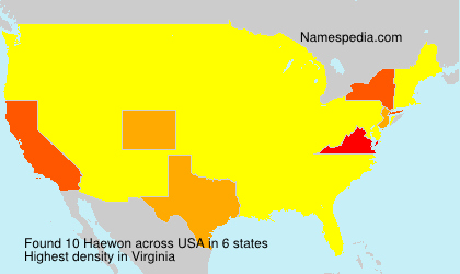 Surname Haewon in USA