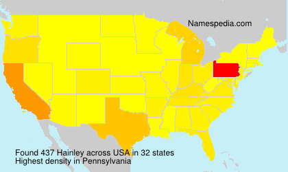 Surname Hainley in USA