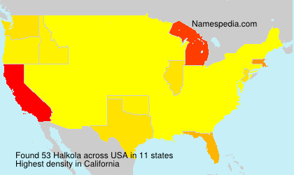 Surname Halkola in USA