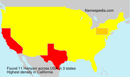 Surname Hariyani in USA