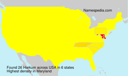 Surname Harkum in USA