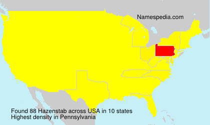 Surname Hazenstab in USA