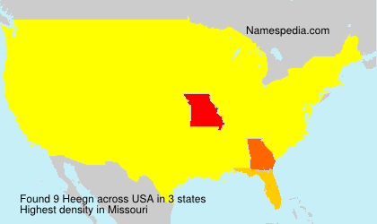 Surname Heegn in USA