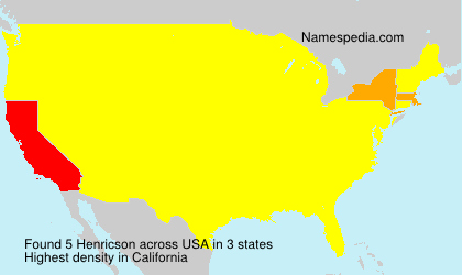 Surname Henricson in USA