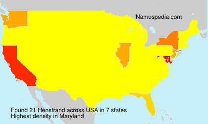 Surname Henstrand in USA