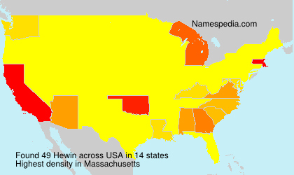 Surname Hewin in USA