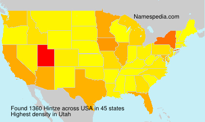 Surname Hintze in USA