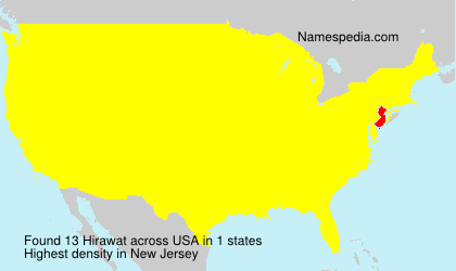 Surname Hirawat in USA