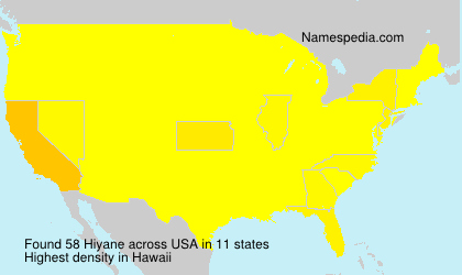 Surname Hiyane in USA