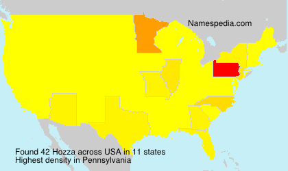 Surname Hozza in USA