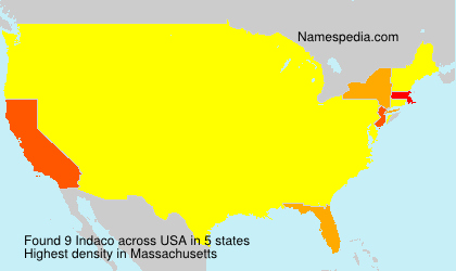 Surname Indaco in USA