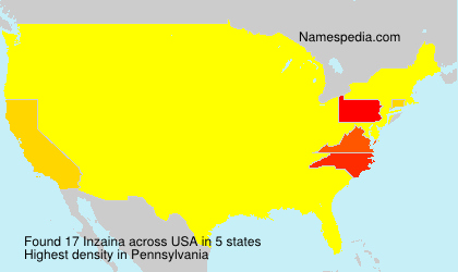 Surname Inzaina in USA