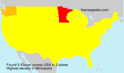 Surname Klacan in USA