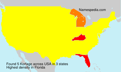 Surname Korfage in USA