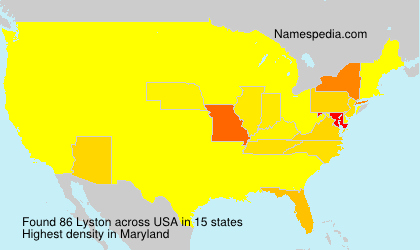 Surname Lyston in USA