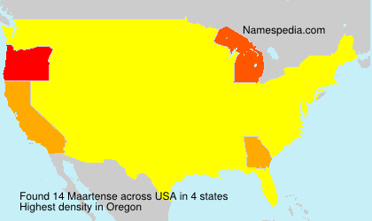 Surname Maartense in USA