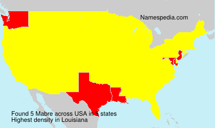 Surname Mabre in USA