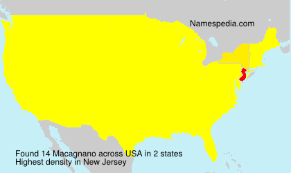 Surname Macagnano in USA