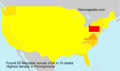 Surname Macaleer in USA