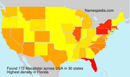 Surname Macalister in USA
