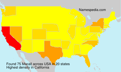 Surname Macall in USA