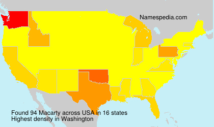 Surname Macarty in USA