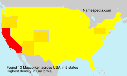 Surname Maccorkell in USA