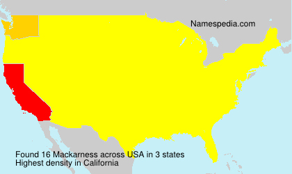 Surname Mackarness in USA