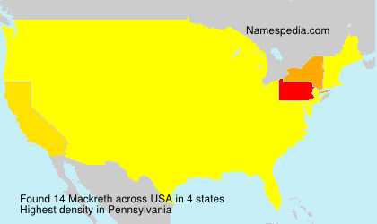 Surname Mackreth in USA