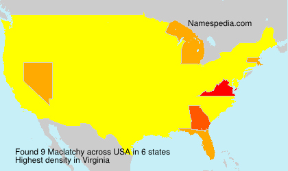 Surname Maclatchy in USA